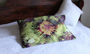 Tie dye Queen size pillow case qty 1 - ice dye 600 TC Kimmy's Purple