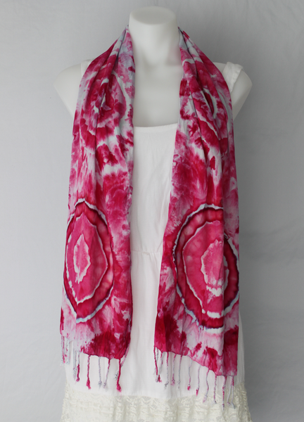 Tie dye rayon Scarf - ice dye - Pretty in Pink