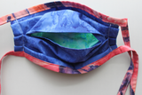 Fabric face mask - Aqua Leaves pink tie dye