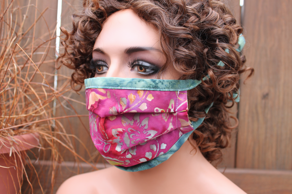 Fabric face mask - Burgundy flowers 6