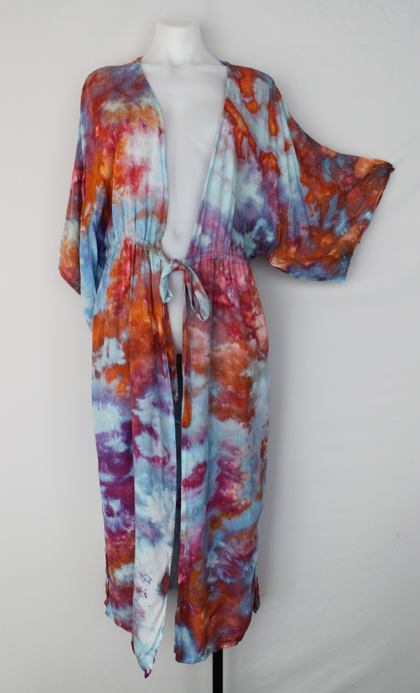 Front tie front Kimono Duster - size Medium - Carnival crinkle