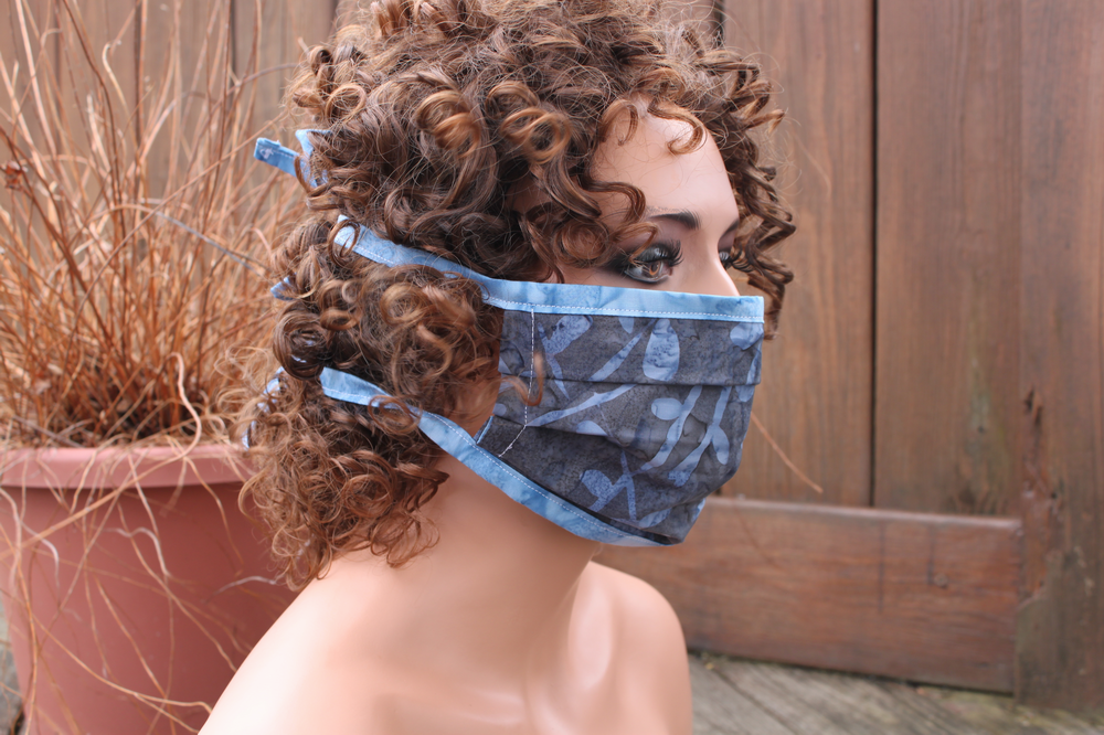 Fabric face mask - Charcoal Stems blue
