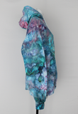 Hoodie sweatshirt Unisex ice dye - size Large - Cotton Candy crinkle