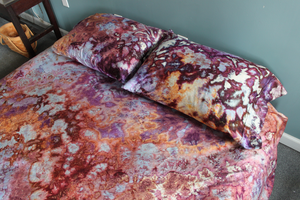 Ice dyed 100% cotton sateen Queen bed 4 piece sheet set  - 600 thread count - Dark Jewels crinkle