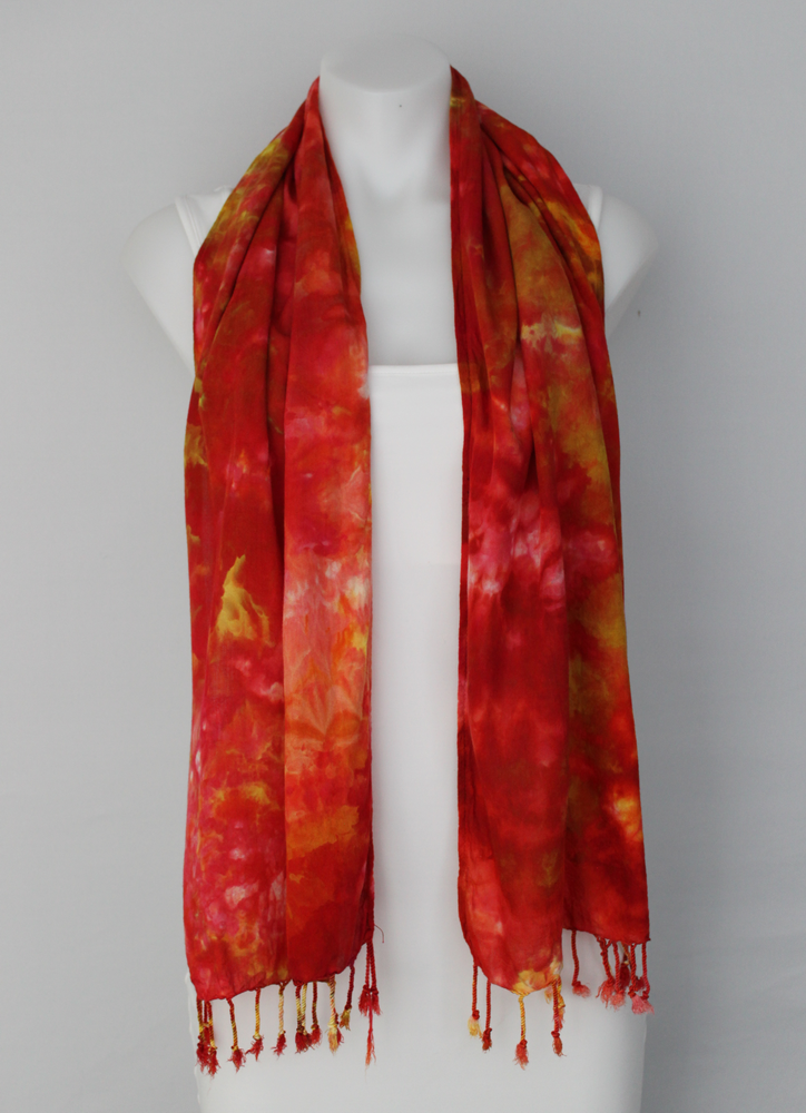 Rayon Scarf ice dyed - Fire on the Mountain crinkle