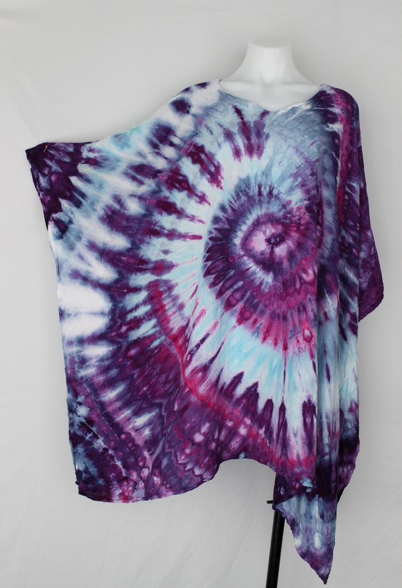 Rayon Poncho One size fits most - PLUS SIZE - ice dye - Grape Splash twist