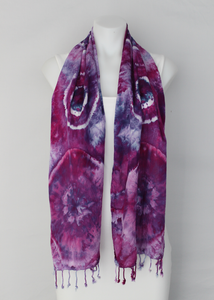 Rayon Scarf ice dyed - Grape Splash bulls eye
