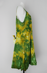 Rayon strap sundress - size Large - Grass is Greener crinkle