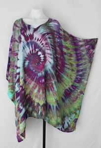 Rayon Poncho One size fits most PLUS SIZE - ice dye - Helen's Iris Patch twist