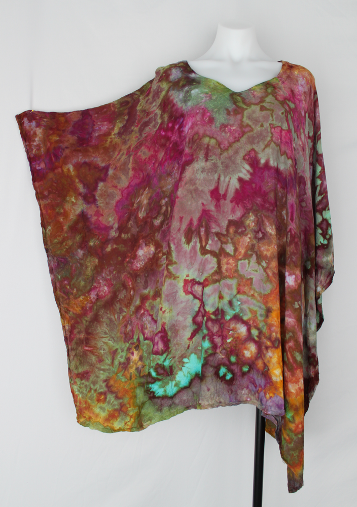 Rayon Poncho PLUS SIZE - ice dye - Rainbow Connection crinkle