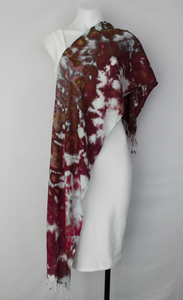 Rayon Scarf ice dyed - Raspberry Brownie crinkle