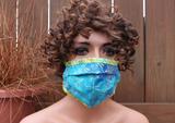 Fabric face mask -  Blue Dragonflies lime 18