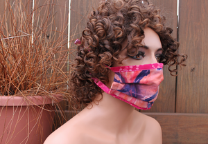 Fabric face mask -  Pink tiedye 20
