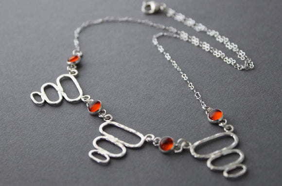 Sterling Amber necklace - handcrafted - Retro Bubbles