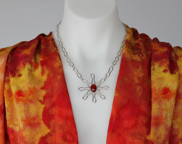 Sterling Carnelian necklace - handmade - Twinkling Sunset
