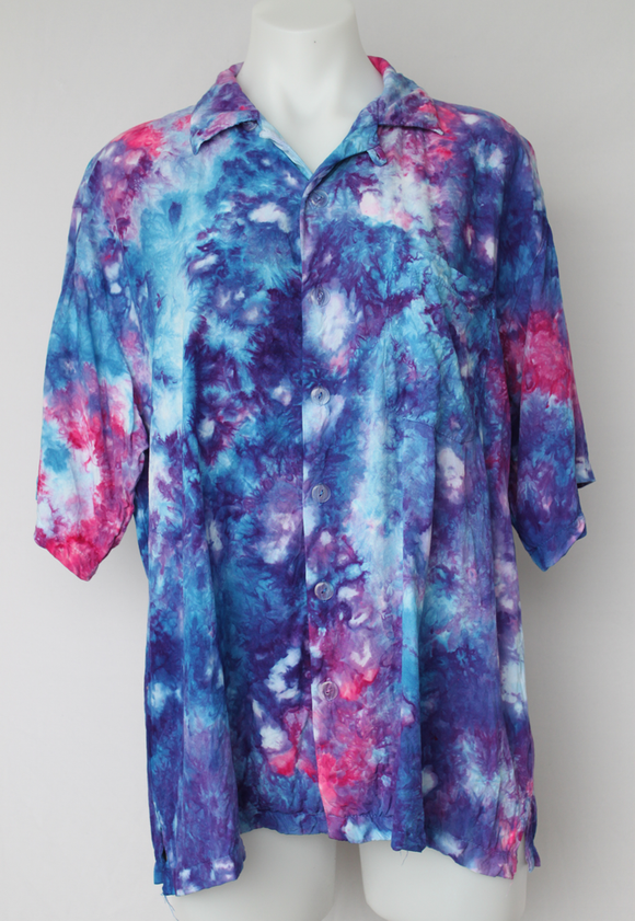 Men's medium button shirt rayon ice dye - Blue Onyx crinkle