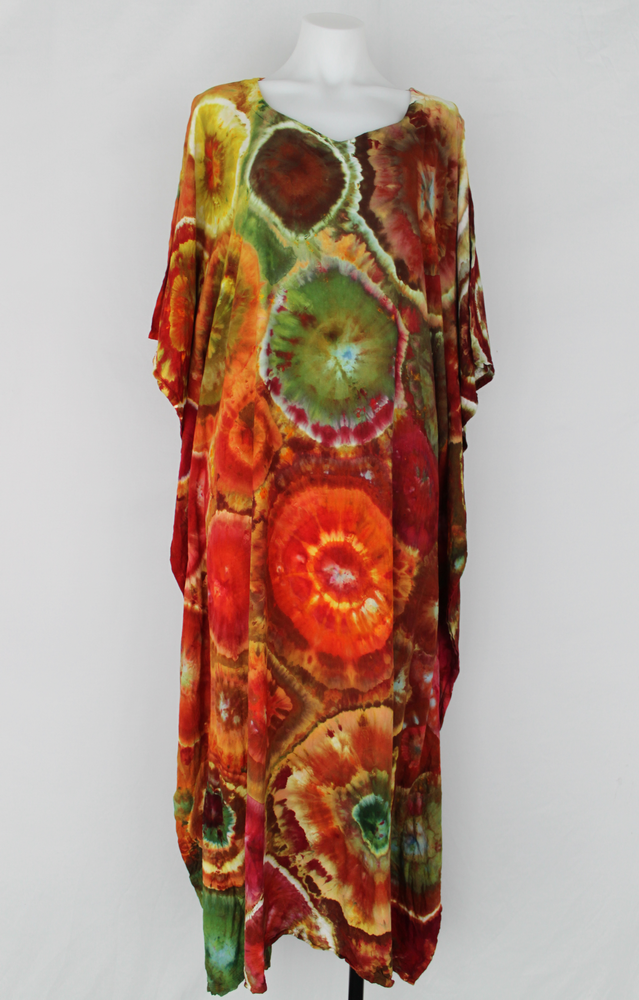 Rayon Caftan One size fits most ice dye - Island Party bulls eye