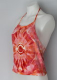 Tie dye crop Halter top - size Large - Angel Wing mega eye