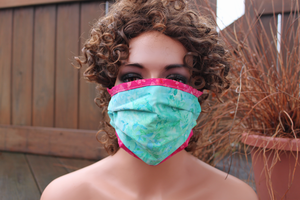Fabric face mask - Aqua Leaves fuchsia