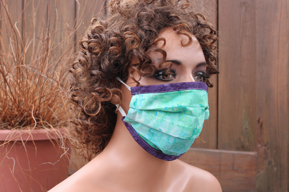 Fabric face mask with Elastic - aqua Leaves purple