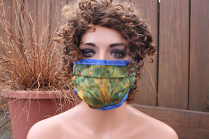 Fabric face mask - Blue and Gold tie dye