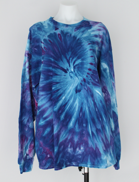 Men's long sleeve shirt size XXL Unisex ice dye - Blue Onyx twist