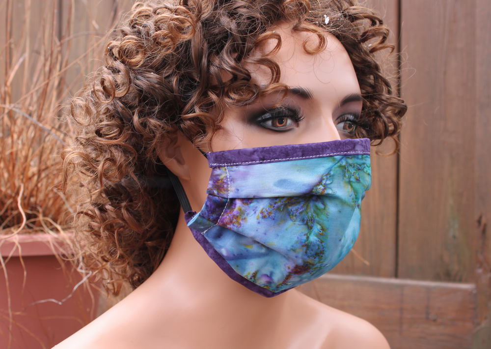 Fabric face mask with Elastic - Blue purple tie dye