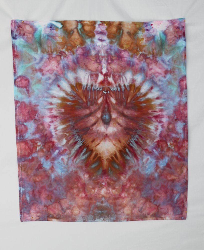 Cotton Flour sack towel - ice dye - Carnival heart