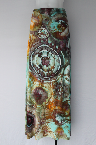 Tie dye Maxi Skirt size X Large - ice dye - Chaotic Adventure bulls eye