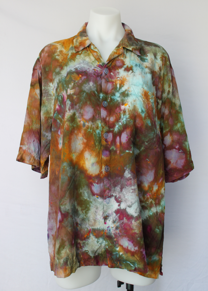 Men's Large button shirt rayon ice dye - Chaotic Adventure crinkle