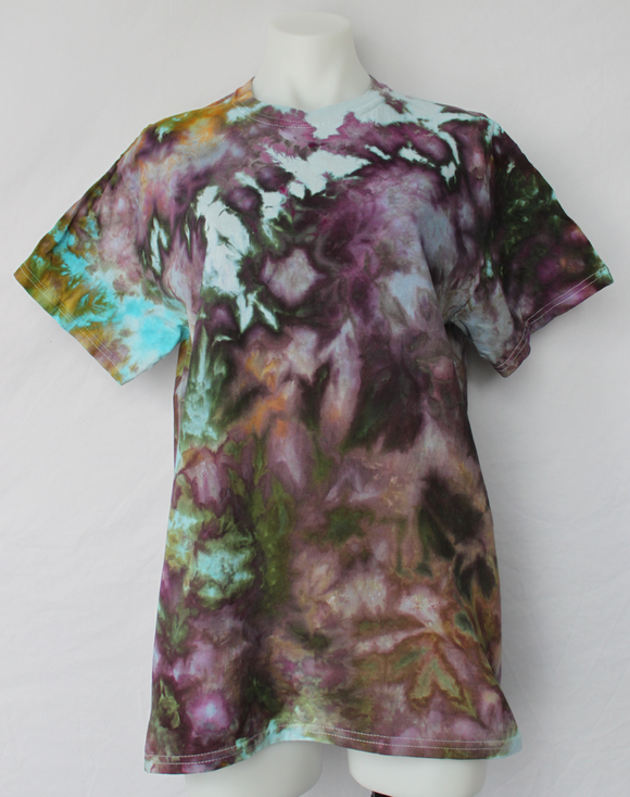 Men's Medium shirt snow ice dye - Chaotic Adventure crinkle
