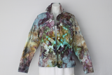 Ice dye denim stretch jacket - size Medium - Chaotic Adventure crinkle