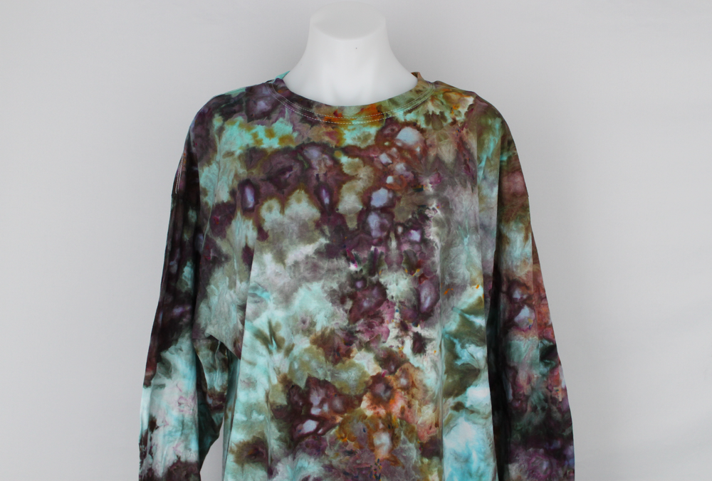 Men's long sleeve shirt size XL Unisex ice dye - Chaotic Adventure crinkle