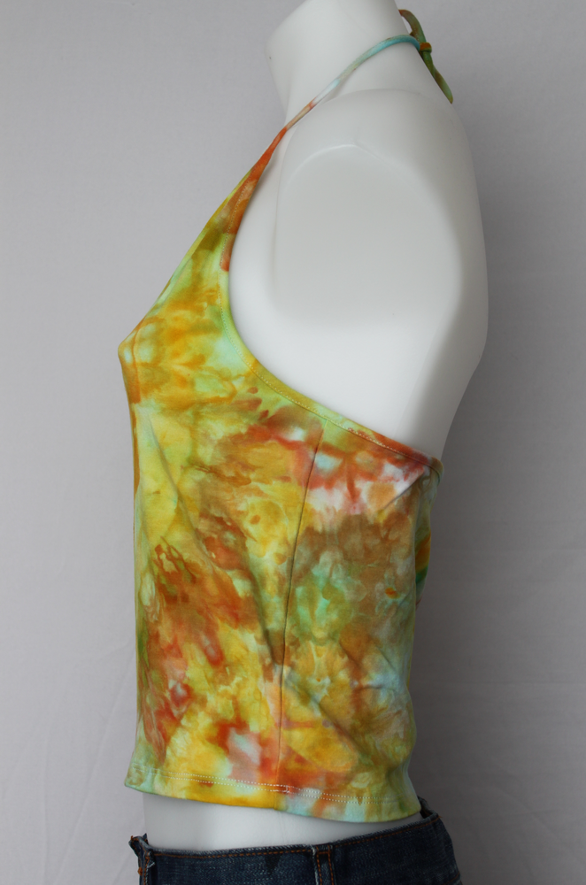 Tie dye Halter crop top size Large - Citrus Squirt