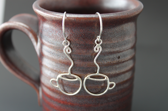 Sterling earrings - handmade - Coffee Cups