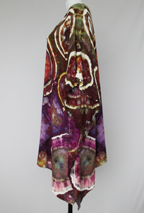 Tie dyed Festival poncho One Size fots Most - Ice dye fashion - Color Burst