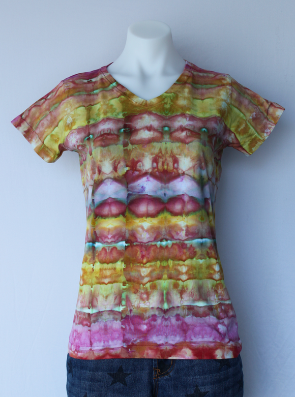 Ladies tie dye shirt size Small - ice dye - Confetti stained glass