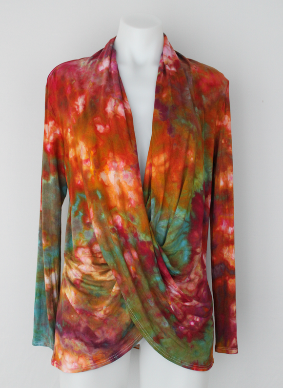 Wrap front tunic top Cardigan - size Small - Confetti crinkle