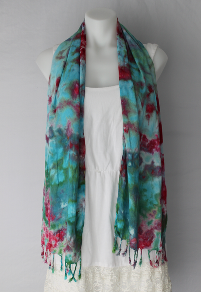 Tie dye rayon Scarf - ice dye - Cotton Candy (1)