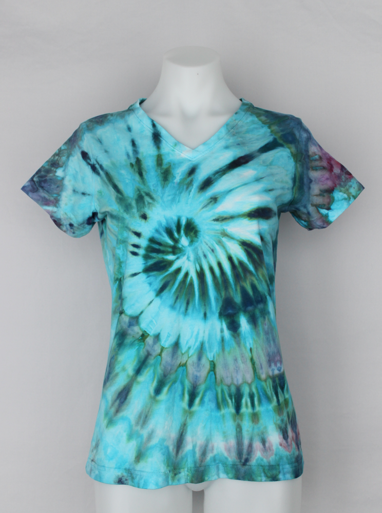 Ladies V neck t shirt size Small - ice dye - Cotton Candy twist