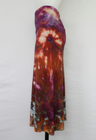 Medium Tie dye skirt MIDI length - Dark Jewels crinkle