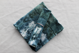 2 - Linen/cotton table napkins size Small  - ice dye - Deepest Waters stained glass