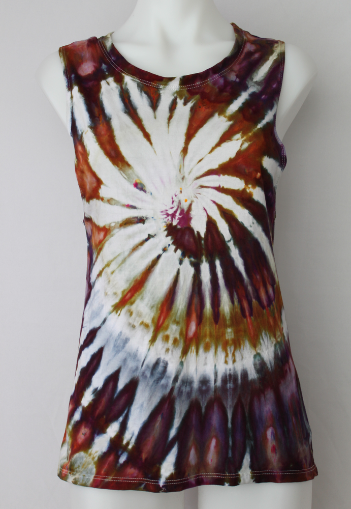 Women's tie dye tank top Bamboo organic cotton boho indie festival size Small - Dark Jewels