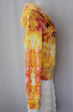 Upcycled Hoodie sweatshirt Unisex ice dye - size Large - Fire on the Mountain crinkle