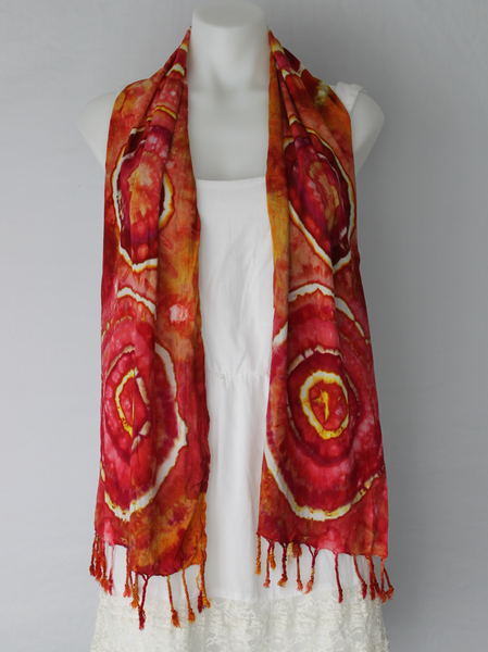 Ice dye rayon Scarf - tie dye - Fire on the Mountain