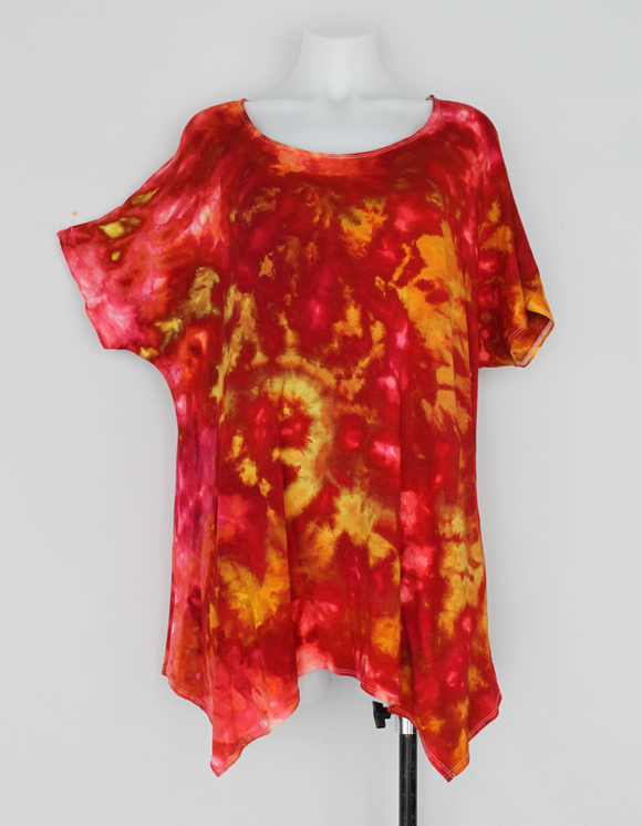 Handkerchief hem tunic - size 1XL - ice dye - Fire on the Mountain crinkle