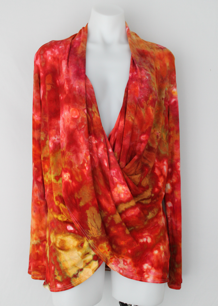 Wrap front top Tunic size XL - Fire on the Mountain crinkle