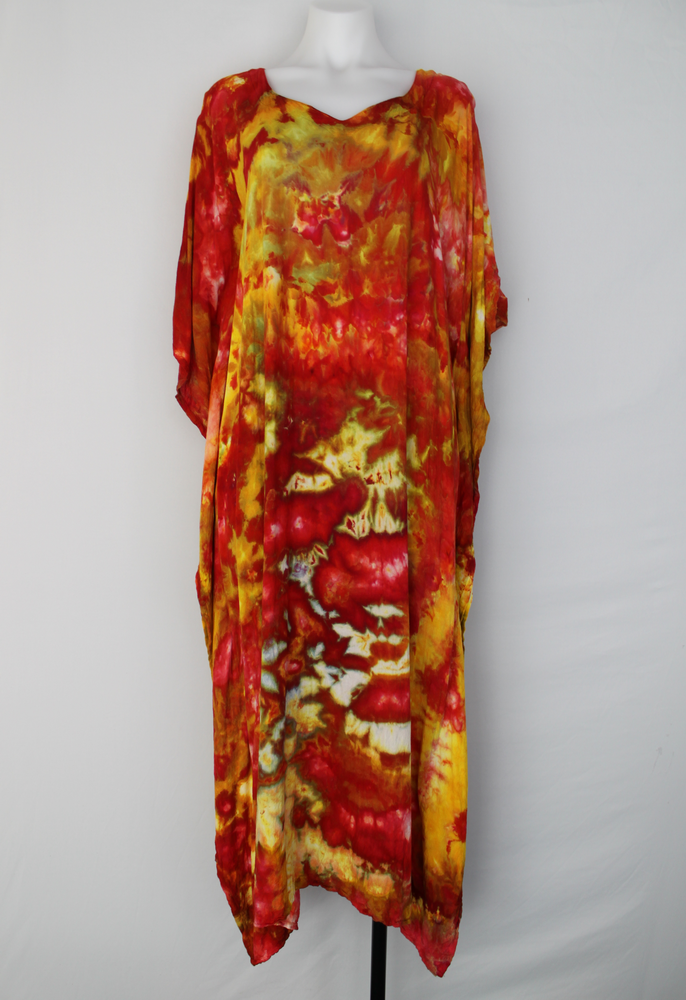 Rayon Caftan One size fits most ice dye - Fire on the Mountain crinkle