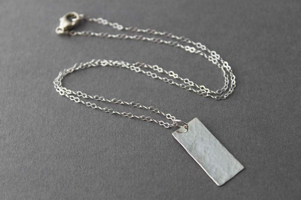 Sterling Rectangle necklace - handcrafted