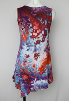 Ladies Medium Tunic sleeveless asymmetrical hem rayon ice dye - Fruit Punch crinkle
